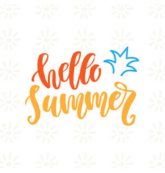 hello summer cute hand drawn poster vector image