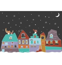 Little town at the winter vector
