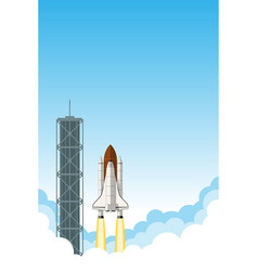 space shuttle launch background with room for text vector image