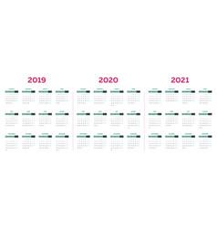 2019 2020 2021 calendar template vector