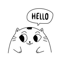 A cute kitty contour cute cat flat kawaii style vector