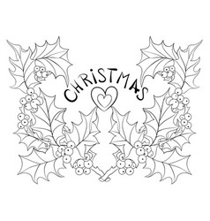 adult coloring bookpage a christmas brunches vector image