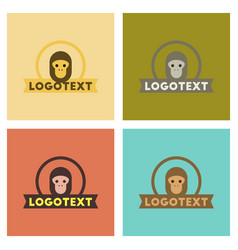 Assembly flat icons nature monkey logo vector