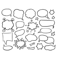 blank speech idea and thought comic bubble set vector image