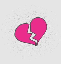 broken heart isolated in vector image