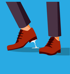 Business trouble stuck feet businessman vector