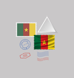 Cameroon flag postage stamp set isolated on gray vector