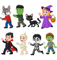 Cartoon happy little kids with halloween costume vector