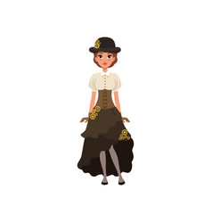 Charming girl in steampunk costume woman in vector