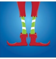 christmas cartoon elfs legs on blue background vector image