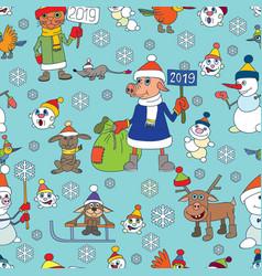 Christmas seamless snowmen year of the p vector