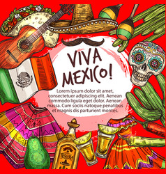 cinco de mayo viva mexico frame national icons vector image