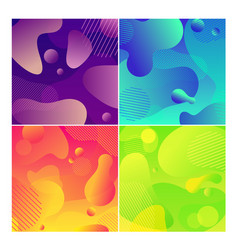 color abstract fluid social media background set vector image