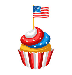 cupcake with american flag vector image