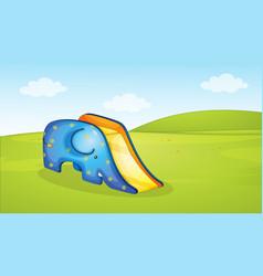 cute elephant slide park scene vector image