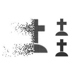 Damaged pixel halftone grave icon vector