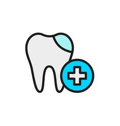 dental filling cured tooth flat color line vector image