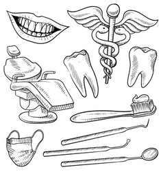 doodle dentist vector image