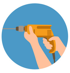 Drill in male hand flat vector