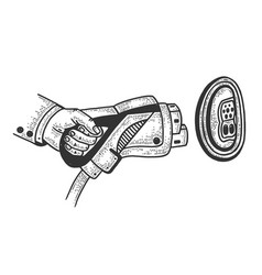 electric car charging plug sketch vector image