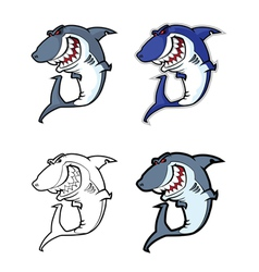 Evil shark mascot vector