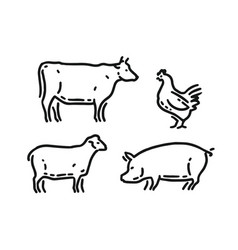 farm domestic animals icon set in linear style vector image