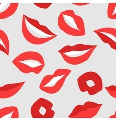 Female lips seamless pattern Mouths with red vector image