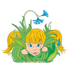 Girl in the grass vector