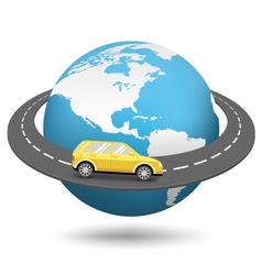 globe with road around world and car isolated vector image