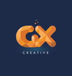 gx letter with origami triangles logo creative vector image