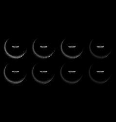 halftone dots circle frames logo emblem half moon vector image