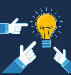 hands pointing on lit bulb new idea business vector image