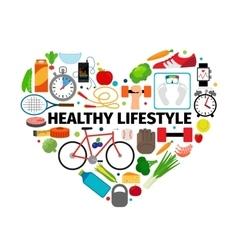 Healthy lifestyle heart emblem vector image