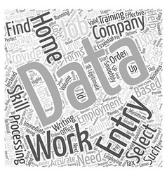 Home data entry employment word cloud concept vector