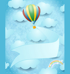 hot air balloon and banner on sky background vector image