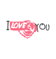 i love you logo template colorful hand drawn vector image