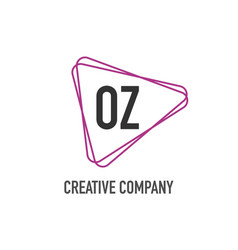 initial letter oz triangle design logo concept vector image