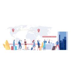 International migration concept immigrants queue vector