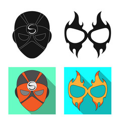 Isolated object of hero and mask logo set of hero vector