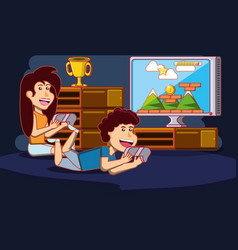 Kids playing video games design vector