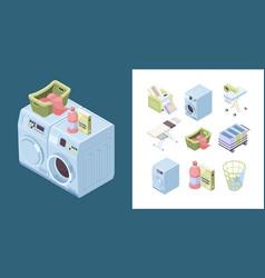 laundry service powder detergent iron soap towel vector image