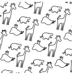 line silhouette wild animal safari background vector image