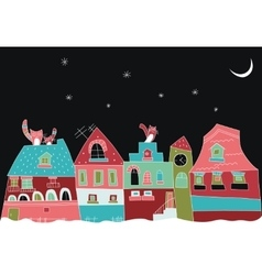 Little town at night vector image
