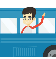 Man waving hand from bus window vector