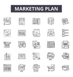 marketing plan line icons signs set vector image