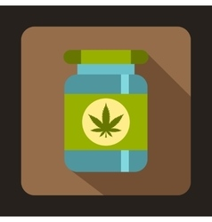 Medical marijua bottle icon flat style vector image