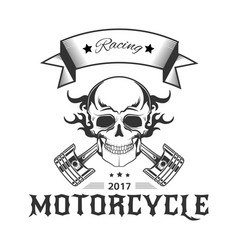 motorcycle racing logo with skull in flames and vector image