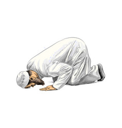 Muslim man praying hand drawn sketch vector
