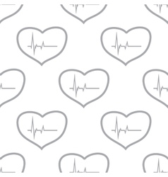 New Heartbeat seamless pattern vector image