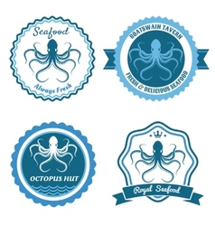 Octopus sea food logo or badge set vector image
